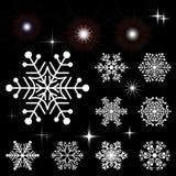 套雪花和发光的元素 元素的汇集新年和冬天设计 库存图片