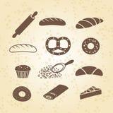 套面包店、酥皮点心和面包象 库存例证