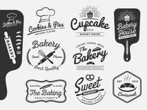 套面包店和面包商标标签设计 皇族释放例证