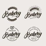 套面包店和面包商标 库存照片