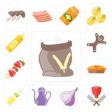 套面粉,屠户,葱,茶壶,油,饼, Kebab, Gingerbre 库存例证