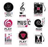 套音乐商标和象征的减速火箭的收藏 免版税库存图片