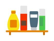 套颜色化妆瓶香波卫生学干净的容器化妆水浴头发奶油传染媒介 向量例证