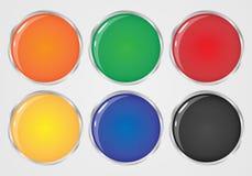 套颜色围绕按钮 免版税库存图片