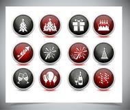 套颜色新年按钮。 免版税图库摄影