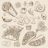 套颜色白垩被画的食物,香料 免版税库存照片
