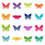 套颜色蝴蝶,传染媒介例证 免版税图库摄影