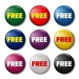 套颜色围绕有词`自由`的按钮 库存图片