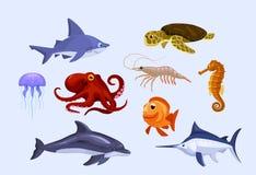 套风格化动画片水下的动物 免版税库存图片