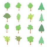 套风格化平的树象,传染媒介例证, 免版税库存照片