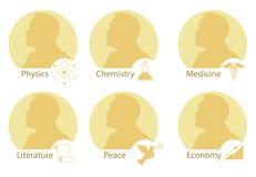 套风格化诺贝尔奖牌 诺贝尔剪影在一个平的样式的 库存例证