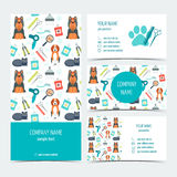 套飞行物、小册子和名片动物修饰的 关心宠物兽医 套增进产品 平的设计 向量 库存图片