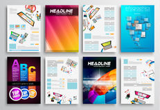 套飞行物设计,网模板 小册子设计 免版税图库摄影