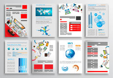 套飞行物设计,网模板 小册子设计 免版税库存照片