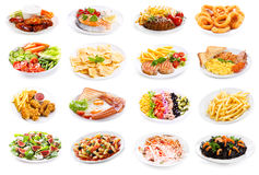 套食物各种各样的板材  免版税图库摄影