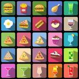 套食物和饮料象 平的样式设计被隔绝的象 库存图片