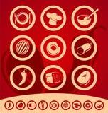 套食物图标 免版税库存照片