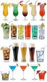 套饮料、鸡尾酒、可乐、啤酒、水和威士忌酒 库存图片