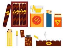 套香烟、雪茄、打火机和烟灰缸在平的样式 免版税库存照片