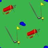 套高尔夫用品在绿色背景的传染媒介例证 免版税库存图片
