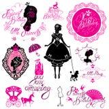 套魅力公主、城堡,支架,黑和桃红色silhou 免版税库存图片