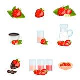 套鲜美成熟草莓 免版税库存图片