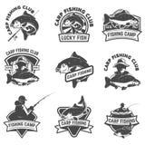 套鲤鱼在白色背景隔绝的渔标签 设计 向量例证