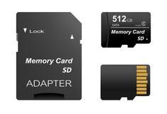 套黑标准512与金子的gb数字式sd存储卡前面和后面与sd卡片的适配器接触在一白色backgrou 库存图片