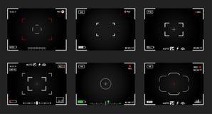 套黑白slr数字照相机反光镜 记录录影快照摄影 照相机后面和焦点框架视图 现代 库存照片