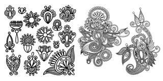 套黑线在无刺指甲花样式的花卉设计元素 库存例证