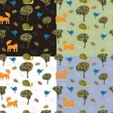 套4与逗人喜爱的森林动物的无缝的样式孩子的 库存图片
