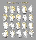 套20个不同具体化人字符 面孔男孩 免版税库存照片