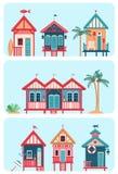 套7个各种各样的多彩多姿的海滩小屋 库存例证