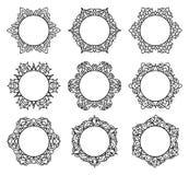 套9个圆的框架 免版税库存图片