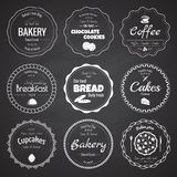 套9个圈子面包店标签 免版税图库摄影