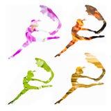 套4个女性剪影与绿色叶子,灼烧的fi结合了 免版税库存图片