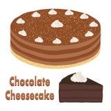 套整个巧克力饼和切片乳酪蛋糕 免版税图库摄影