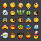 套25个意思号, emoji,面带笑容-例证 免版税库存图片