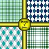 套4个无缝的绿色样式在树荫下&色彩  免版税库存照片