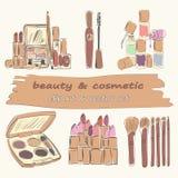 套6个构成和化妆用品对象 向量例证