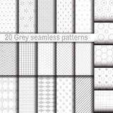 套20个灰色无缝的样式 免版税库存照片