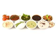 套8个美味调味汁和顶部在白色 在浸洗的匙子 酱油,咖喱,芥末,烤肉 为 库存图片