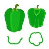 套整个胡椒和切片在平的样式 切好的绿色pepp 免版税图库摄影