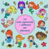 套10个逗人喜爱的美人鱼+不同的海元素 库存例证