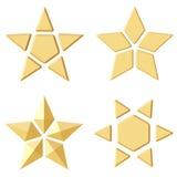 套4个金黄星 不同的角度 免版税库存照片