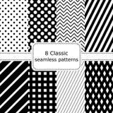 套8个经典黑的白色无缝的样式 库存图片