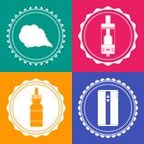 套4个vaping的设计元素标志 免版税图库摄影
