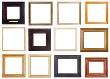 套12台个人计算机摆正木画框 免版税库存图片