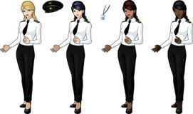 套4名女性飞机飞行员 免版税库存图片