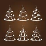 套以圣诞树的形式六个玻璃标记 库存图片